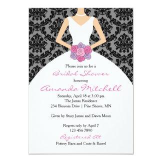 Bride With Bouquet Bridal Shower Invitation │ Pink