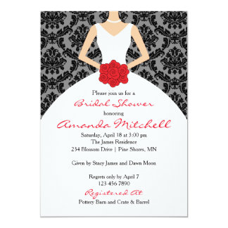 Bride With Bouquet Bridal Shower Invitation │ Red