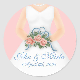 Bride with Bouquet D4(b) - Wedding Stickers
