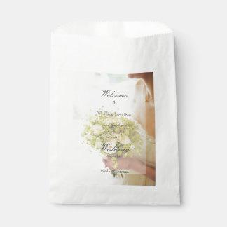 Bride with Flower Bouquet editable wedding Favour Bag