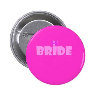 bride with heart 6 cm round badge