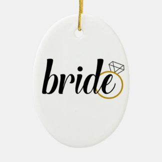 Bride with Ring Ceramic Oval Decoration