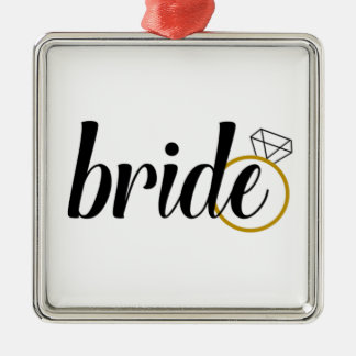 Bride with Ring Silver-Colored Square Decoration