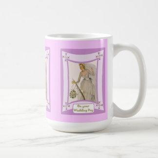 Bride with white bouquet coffee mug
