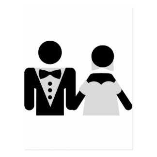 bridegroom and bride marriage icon postcard