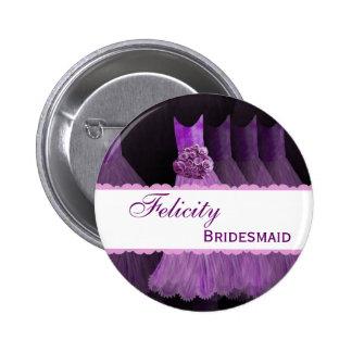 Bridemaid Wedding Party Custom Name Pinback Button