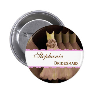 Bridemaid Wedding Party Custom Name Pinback Buttons