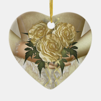 Brides Bouquet (ivory) Wedding Ceramic Heart Decoration