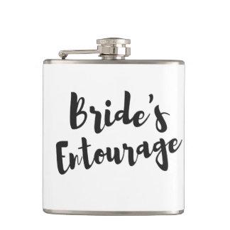 Bride's Entourage Bridal Party Wedding Vinyl Flask