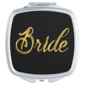 Brides Gold Faux Paint Travel Mirror