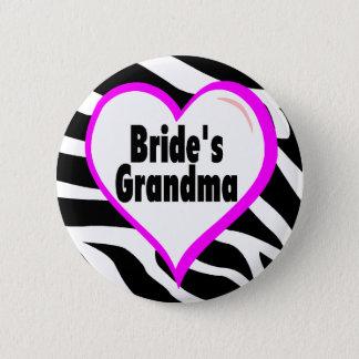 Brides Grandma (Heart Zebra Stripes) 6 Cm Round Badge