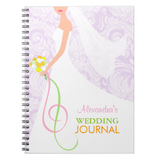 Bride's Lavender Damask Wedding Journal Notebook