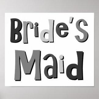 Brides Maid Gray Print
