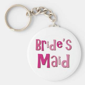 Brides Maid Pink Brown Basic Round Button Key Ring