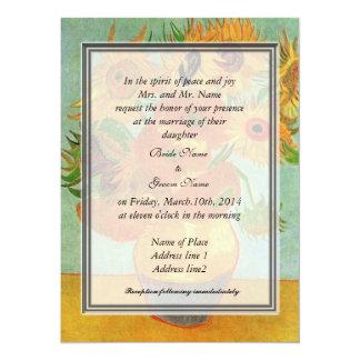 bride's parents invitation, van Gogh sunflowers 14 Cm X 19 Cm Invitation Card