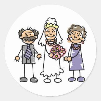 Brides Parents Wedding Day Before Ceremony Round Sticker