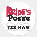 Bride's Posse Bachelorette Party Tshirts Round Sticker