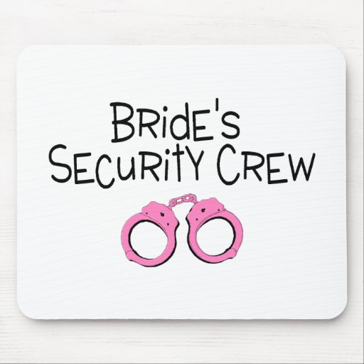 Brides Security Crew Pink Handcuffs Mousepad