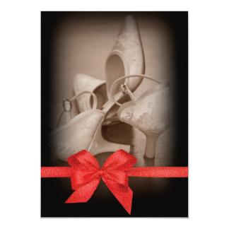 Bride's shoes design - Red Shiny Bow 13 Cm X 18 Cm Invitation Card