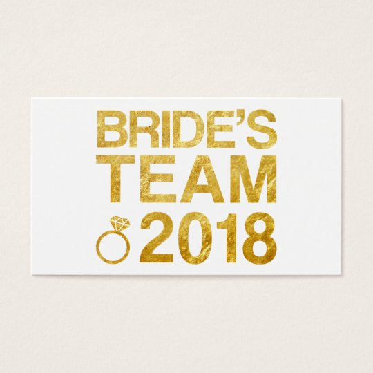 Bride's team 2018 business card