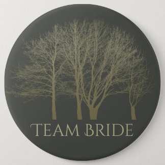 Bride's team ELEGANT GREY GOLD FALL AUTUMN TREES 6 Cm Round Badge