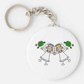 Brides Tossing Bouquests Basic Round Button Key Ring