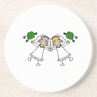 Brides Tossing Bouquests Beverage Coaster