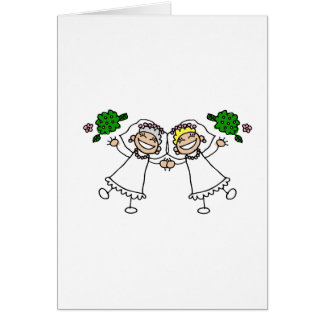 Brides Tossing Bouquests Greeting Card