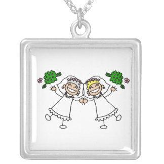 Brides Tossing Bouquests Square Pendant Necklace