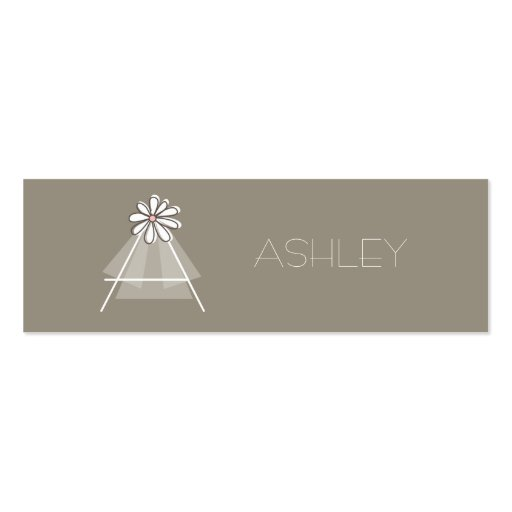 Bride's Veil Daisy Flower Monogram Bridal Gift Tag Business Card