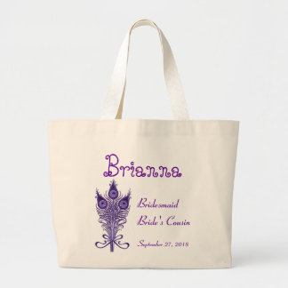 BRIDESMAID and COUSIN Purple Peacock Feathers V3 Large Tote Bag