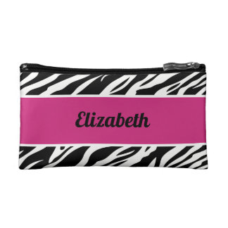 Bridesmaid Animal Zebra Print Monogram Makeup Bag