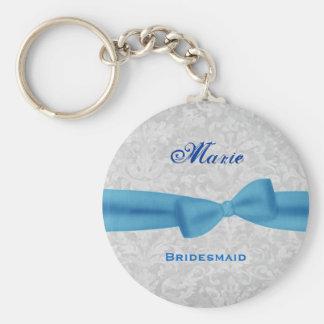 Bridesmaid Baby Blue Bow Silver Damask E012 Basic Round Button Key Ring