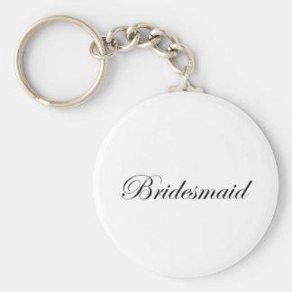 Bridesmaid Basic Round Button Key Ring