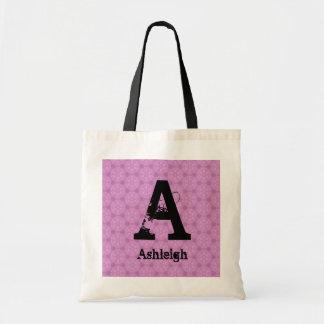 Bridesmaid Black Grunge Monogram and Pink F002 Tote Bag