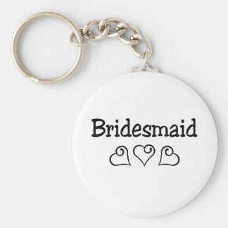 Bridesmaid Black Hearts Basic Round Button Key Ring
