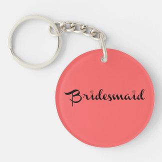 Bridesmaid Black on Salmon Single-Sided Round Acrylic Key Ring