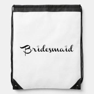 Bridesmaid Black on White Drawstring Bags