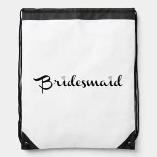 Bridesmaid Black on White Drawstring Bags