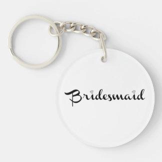 Bridesmaid Black on White Single-Sided Round Acrylic Key Ring