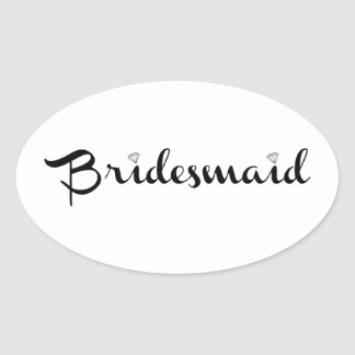 Bridesmaid Black on White Oval Sticker