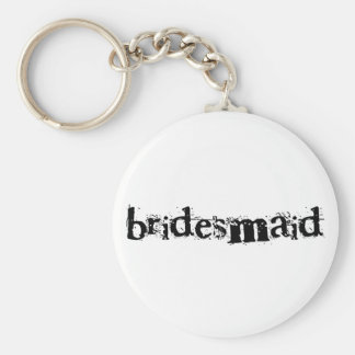 Bridesmaid Black Text Basic Round Button Key Ring