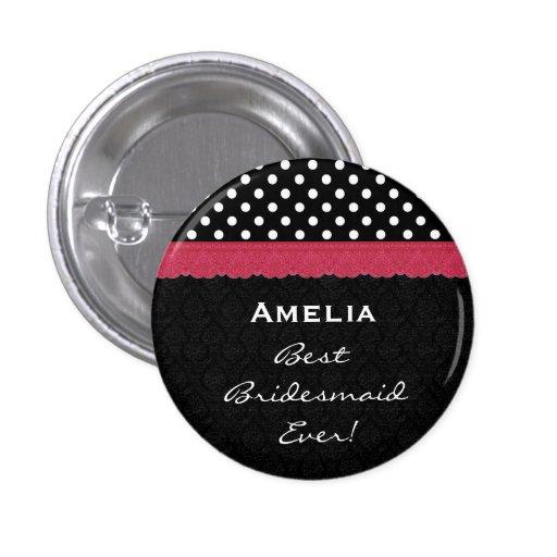 Bridesmaid Black White Red Polka Dots V5 Button