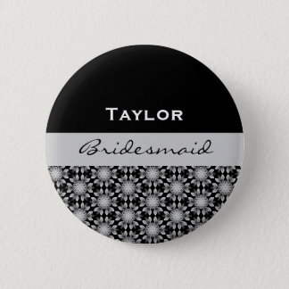 Bridesmaid Black White Silver Floral B001 6 Cm Round Badge