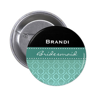 Bridesmaid Black White Teal Damask V2 6 Cm Round Badge