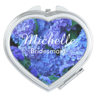 Bridesmaid Blue Hydrangeas Personalized Mirrors For Makeup