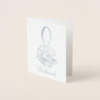 Bridesmaid Bridal Party Floral Wedding Bouquet Foil Card