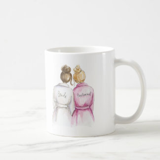 Bridesmaid? Brunette Bun Bride Bl Bun Maid Basic White Mug