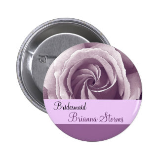 BRIDESMAID Button with LILAC PURPLE Rose Pinback Button
