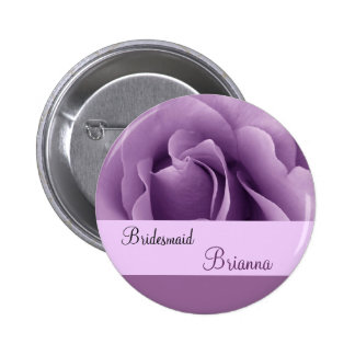 BRIDESMAID Button with LILAC PURPLE Rose Pin